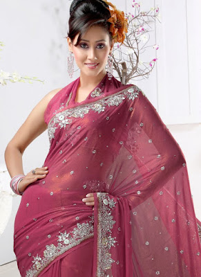 Latest Shimmer Georgette Saree design 2015