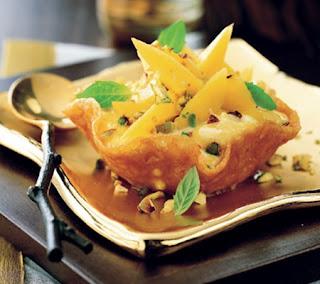 mango cream in brandy snap baskets recipe