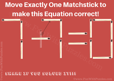 Answer of Matchstick Equation Puzzle for Teens