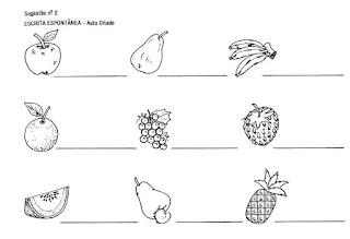 Atividade alfabetização autoditado frutas