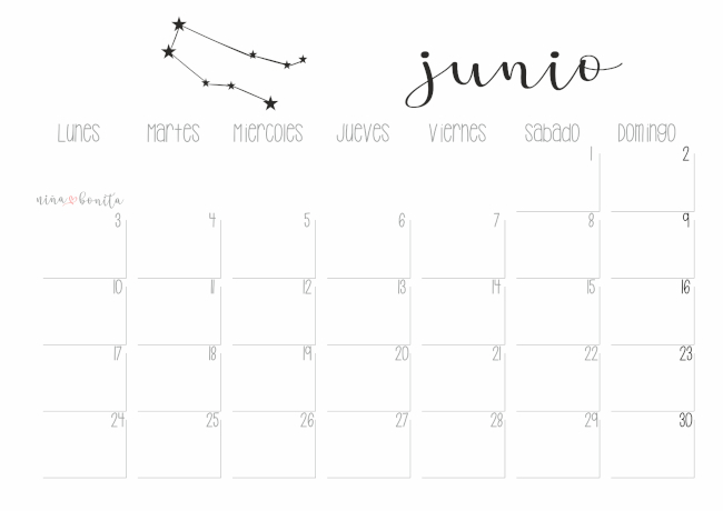 Junio 2019 Calendario.Imprimible Calendario Junio 2019 Nina Bonita