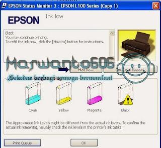 Cara Reset Ink Level Printer Epson L100, L200 dan L800 Tanpa SN