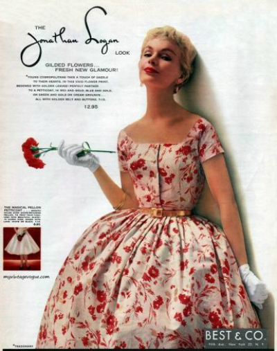 Model in Jonathan Logan 1954 Flower Print Garden Party Dress Dress