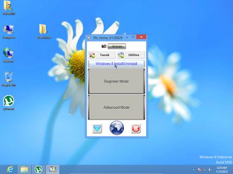 """Anda bisa menggunakan Activator yang saya sertakan, atau mencari sendiri di internet. """"Pilih Install/Uninstall Windows 8"""""""