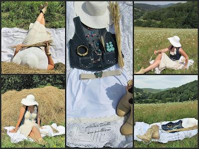 Sukienka w stylu Counrty + dodatki Iwakki