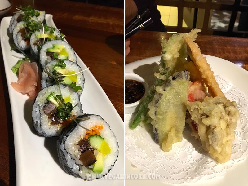 Vegetarian futomaki and tempura Sakura Japanese restaurant Cork