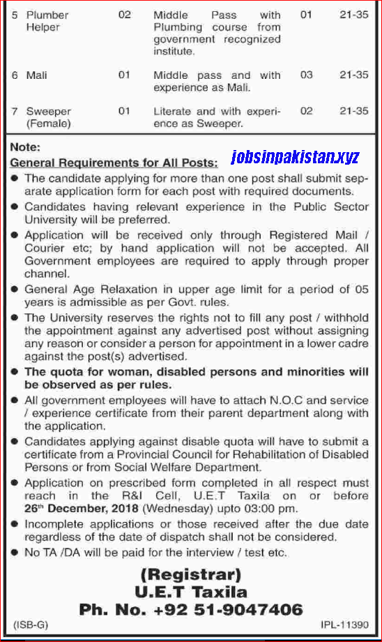 Advertisement for UET Taxila Jobs December 2018 Page 2/2