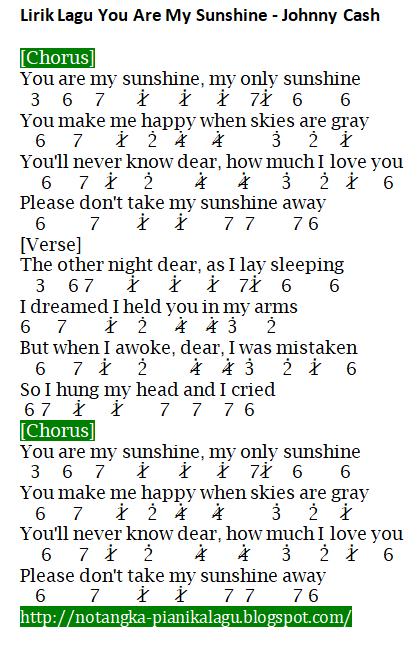 Not Angka Pianika Lagu You Are My Sunshine - Johnny Cash