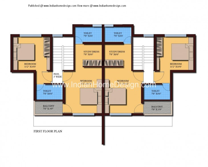 Modern twin house plans of 1000 sqft 3 bedroom home House plan design