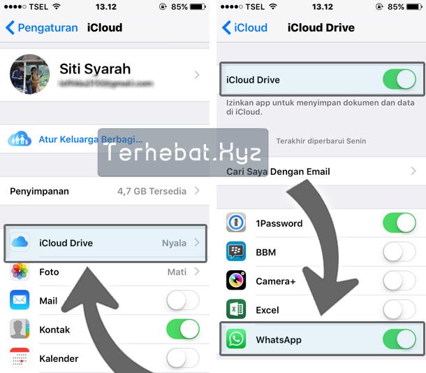 mengaktifkan icloud drive di iPhone