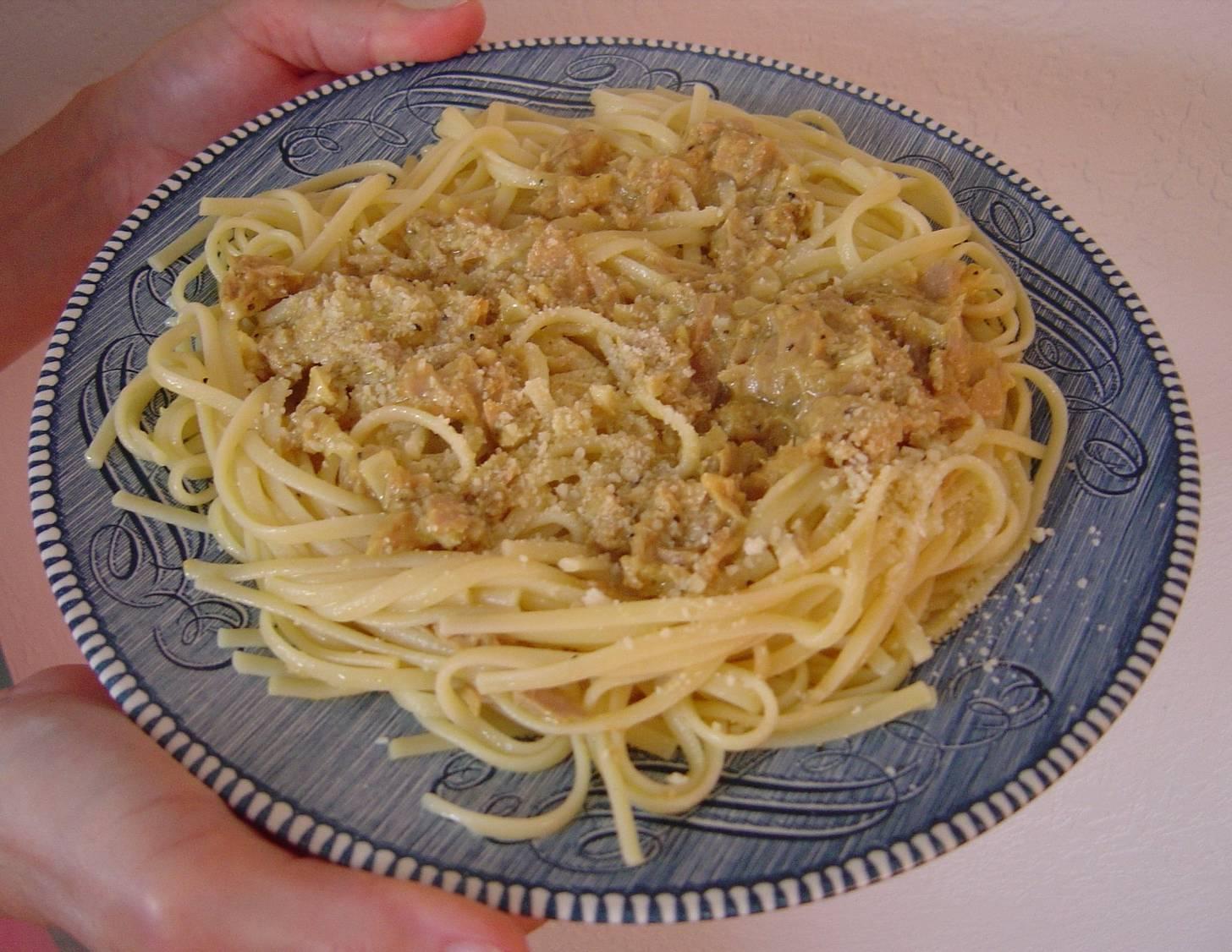 Plate of my No Work Tuna Spaghetti