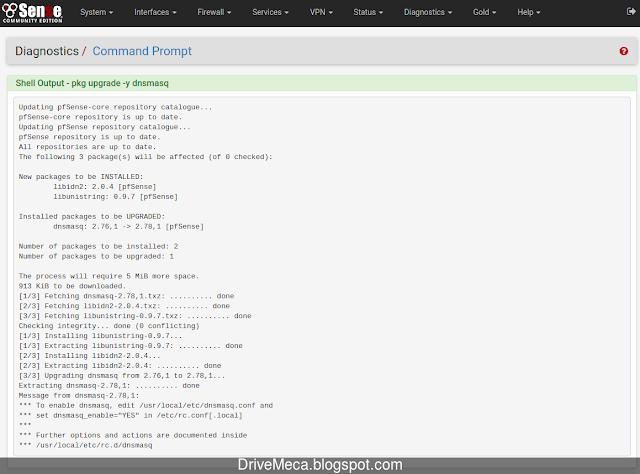 Verificamos en los logs mostrados en pantalla version de dnsmasq