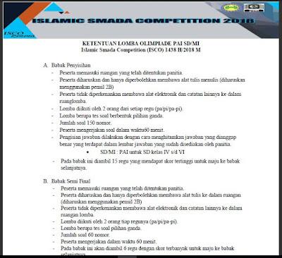 Ketentuan Lomba Olimpiade PAI SD/MI 2018 M atau Islamic Smada Competition (ISCO) 1438 H