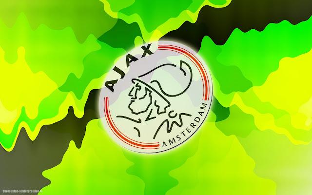Groen geel abstracte Ajax achtergrond met logo en legerkleuren