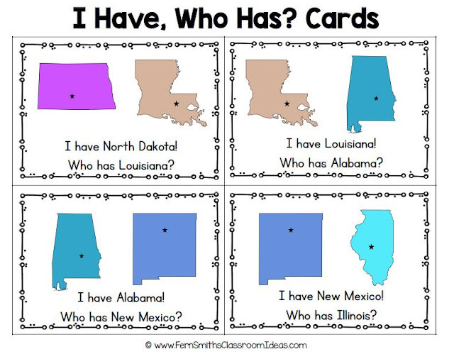 100 I Have, Who Has? United States of America Task Cards, Teacher Directions and a Teacher Answer Key by Fern Smith's Classroom Ideas Available for You at TeachersPayTeachers.