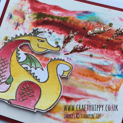 Create this mystical Dragon Card using the Magical Day stamp set from Stampin' Up! plus some Embossing Paste
