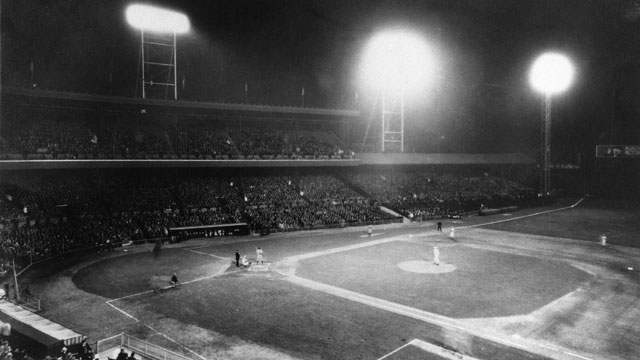 The first night game in baseball was May 24, 1935, in Cincinnati when the Cincinnati Reds played the Philadelphia Phillies