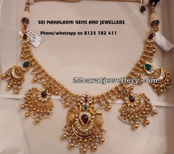 Gold Kundan Necklace 2 Layer Chain