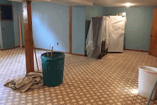 Basement with walls removed.