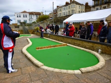 Richard Gottfried playing the 17th hole at Strokes Adventure Golf at the 2014 BMGA British Minigolf Championships