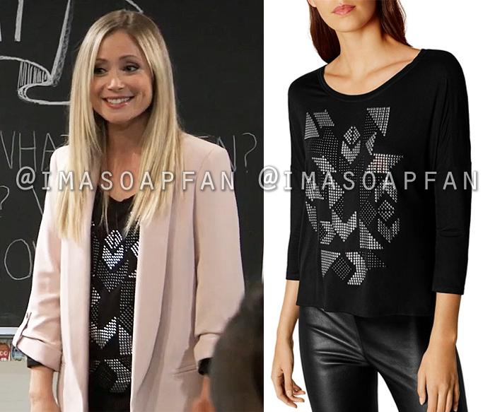 Lulu Spencer Falconeri, Emme Rylan, Black Geometric Studded Top, General Hospital, GH