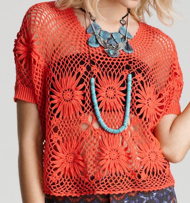 3c5b520a94090 Marisa Almeida Tricot Crochet   Blusa Crochet Laranja - Projeto ...