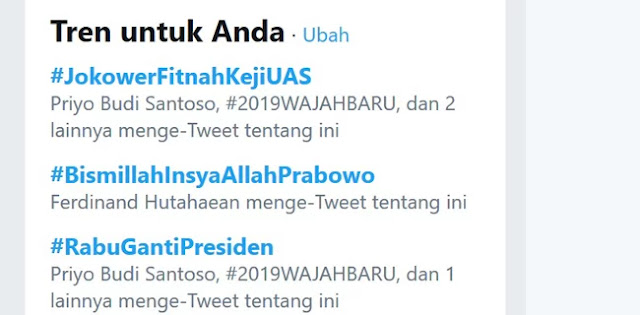 Tagar #JokowerFitnahKejiUAS Jadi Trending Topik Teratas