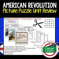 American Revolution Picture Puzzle,  TEST PREP, UNIT REVIEWS, TEST REVIEWS, and STUDY GUIDES