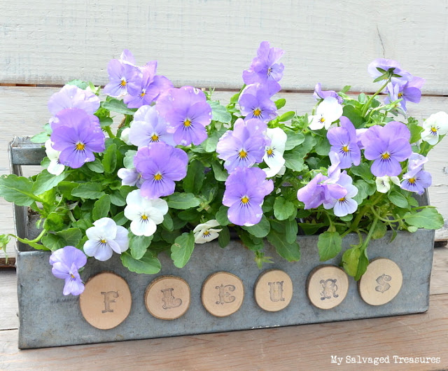 add character to a galvanized flower tote with stamped wood slices