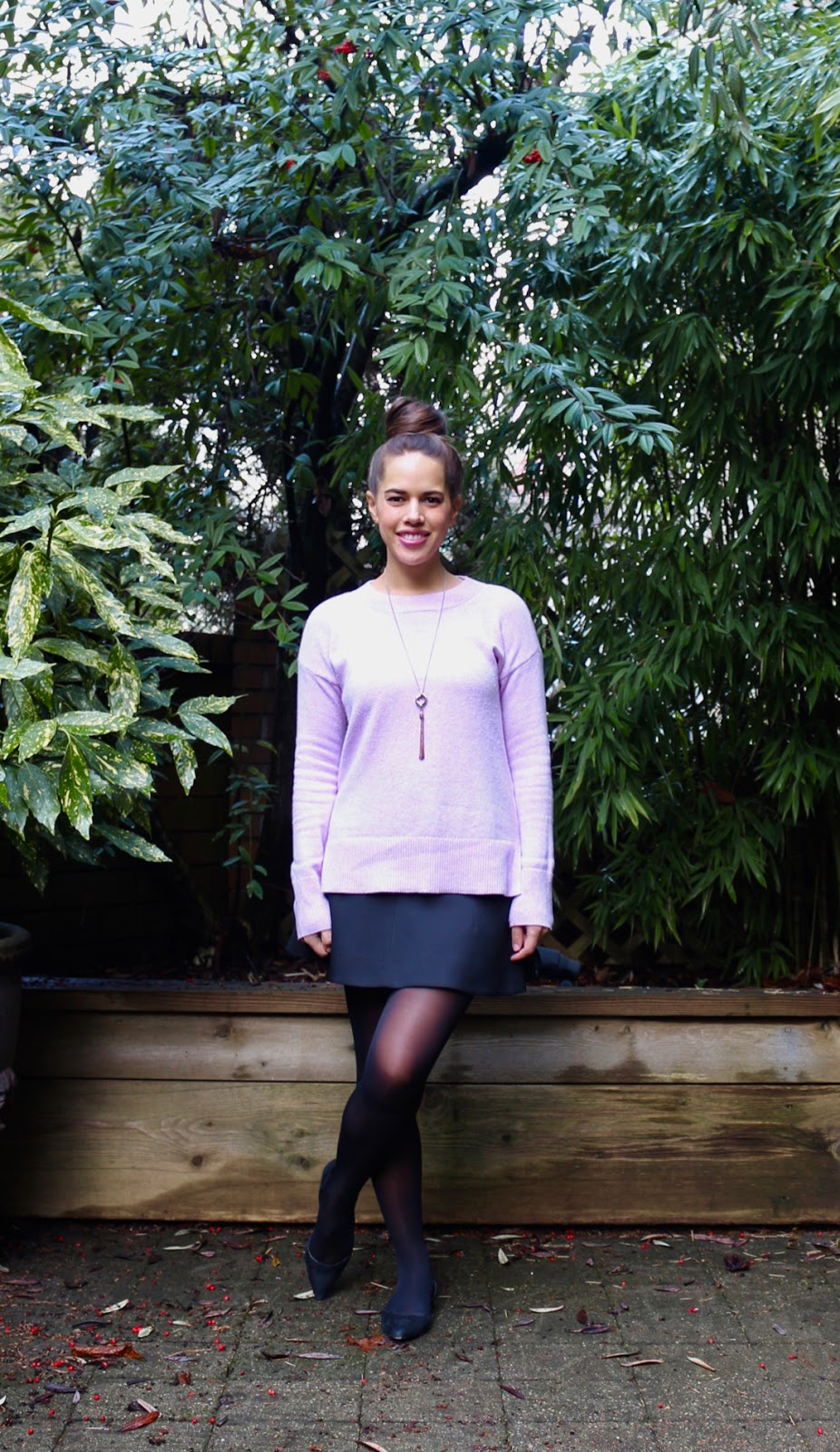 Jules in Flats - Lilac Crew Neck Sweater Tunic with Mini Skirt (Business Casual Winter Workwear on a Budget)