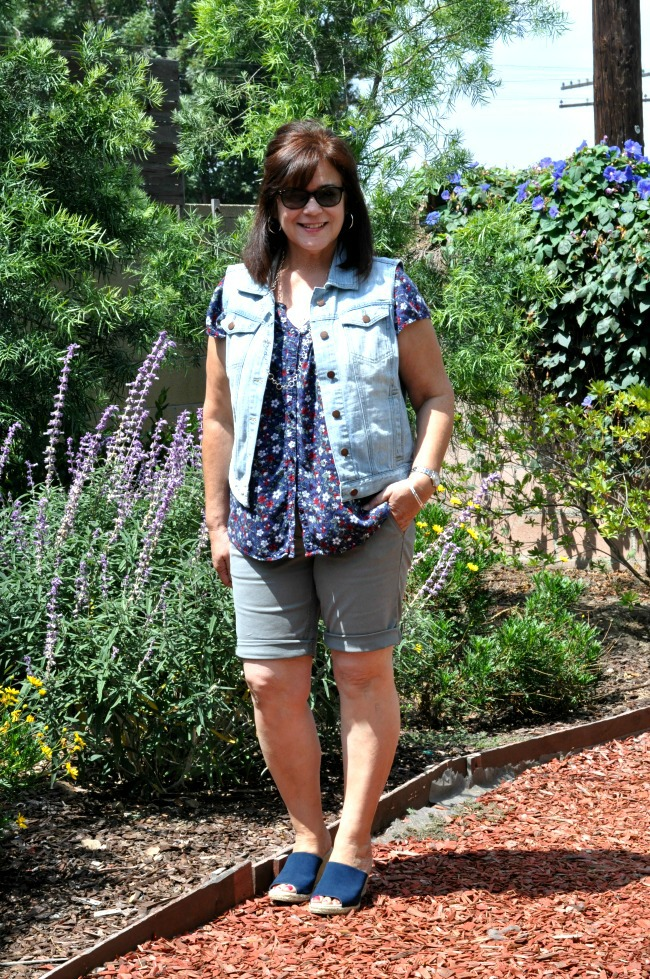 jean vest and floral top with khaki shorts