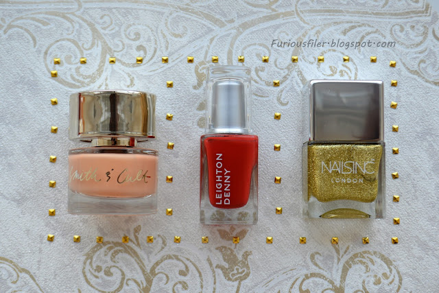 meebox february studs nails inc peach red glitter