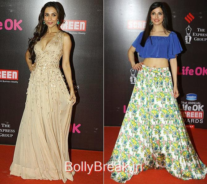 Malaika Arora Khan, Divya Khosla Kumar, Life Ok Screen awards 2015 Red Carpet Hot Pics
