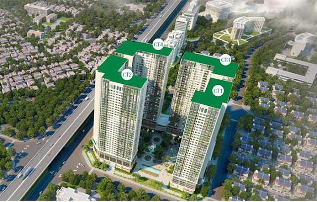 Vị trí 4 toà CT1, CT2, CT3, CT4 Eco Green City