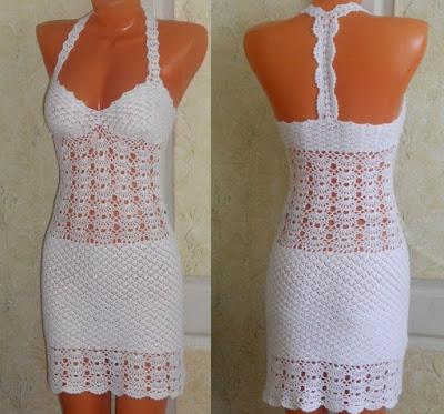 vestido branco em croche com grafico