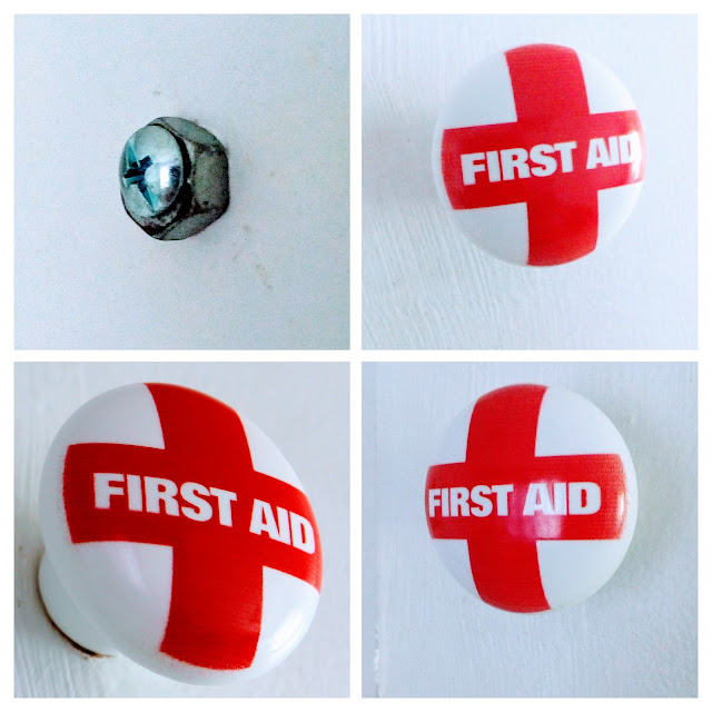 "First Aid Ceramic Knob on Zazzle - A picture collage of the screw behind the knob, and the front with the letters ""First Aid"""