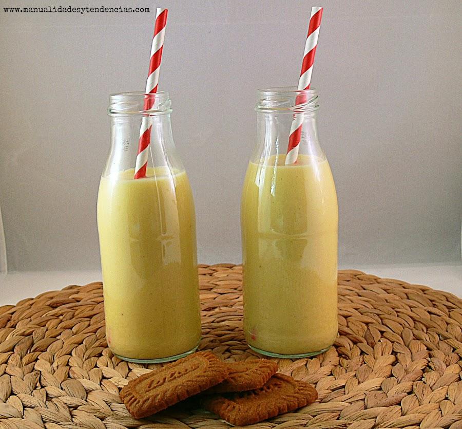 Receta de batido cremoso o smoothie de leche fermentada, mango y plátano