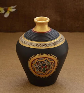 Black Terracotta Warli Hand Painted Vase by Unravel India from Beautiful Colorful and Stylish Vase Collection