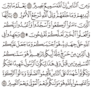 Tafsir Surat Al-Hajj Ayat 76, 77, 78