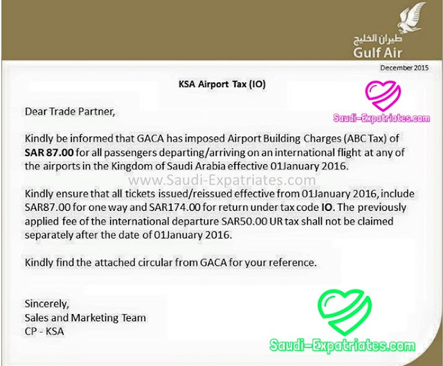 GULF AIR ABC TAX SAUDI ARABIA NOTIFICATION