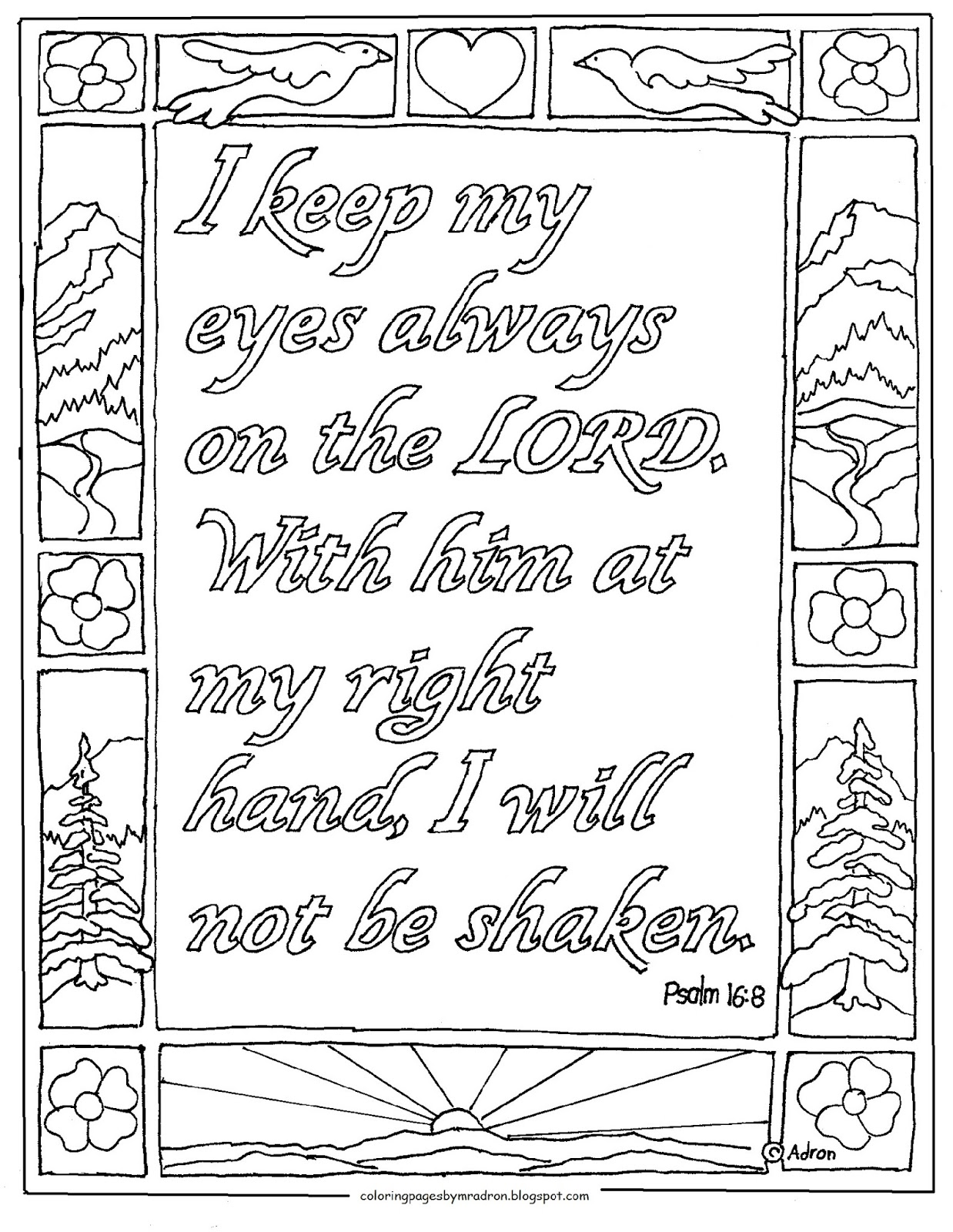Coloring Pages for Kids by Mr. Adron: Psalm 16:8 Printable