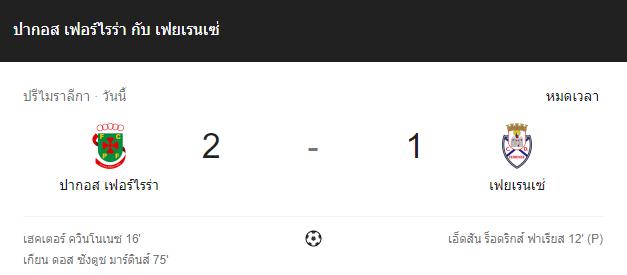 แทงบอล ไฮไลท์ เหตุการณ์การแข่งขันระหว่าง ปากอส เฟอร์ไรร่า vs เฟยเรนเซ่