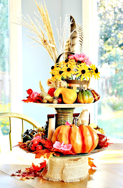 tiered-tray-pumpkin-decorating-acorns-antlers-gourds-athomewithjemma.com