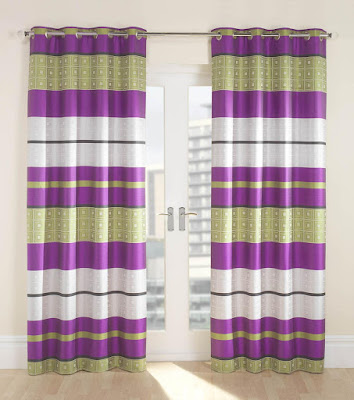 purple and green curtains with white