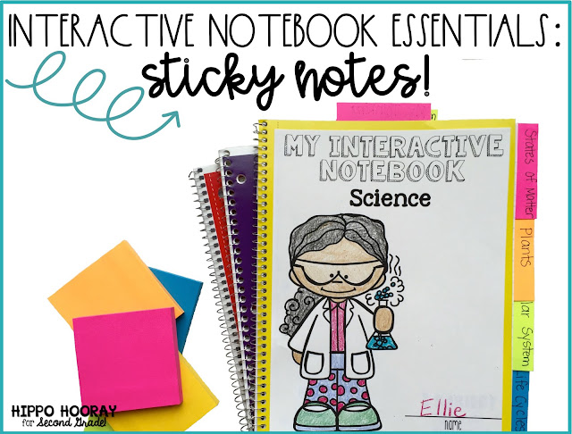 Interactive Notebook Essentials: Sticky Notes! A blog post from Hippo Hooray for Second Grade