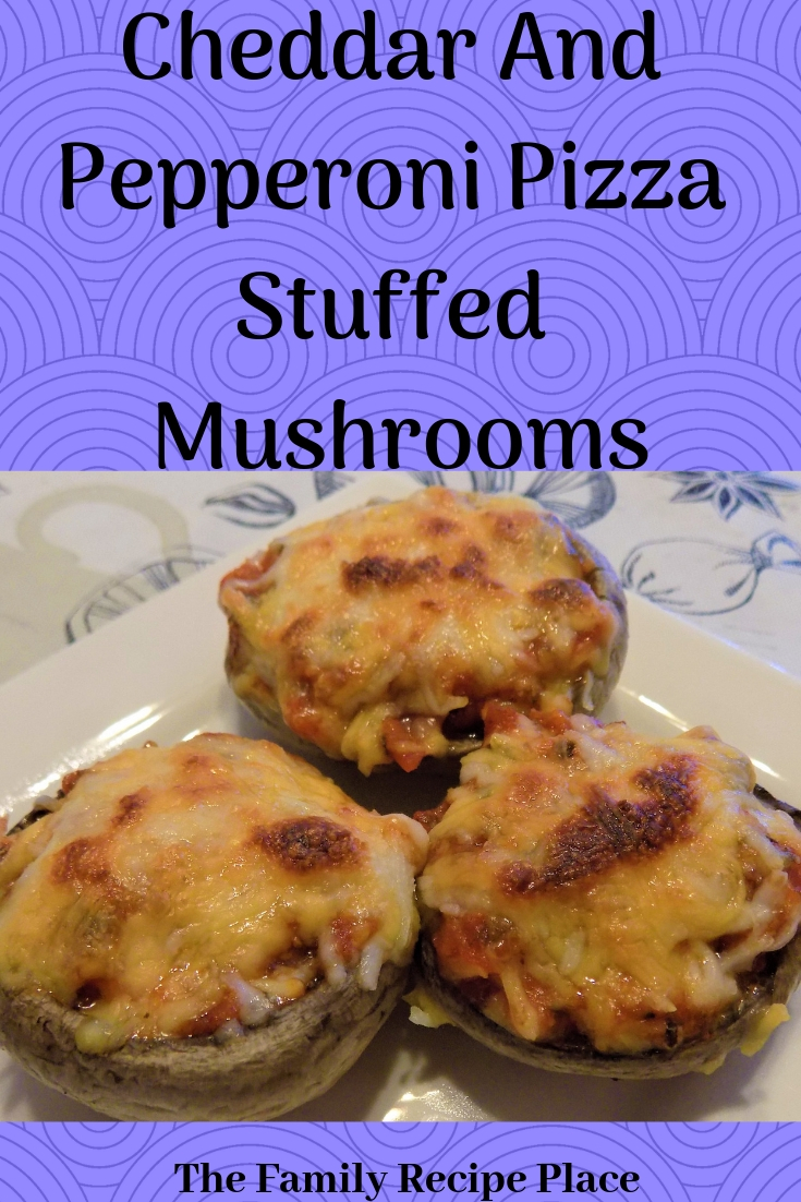 This is a made from scratch design of a picture and title of pizza stuffed mushrooms recipe