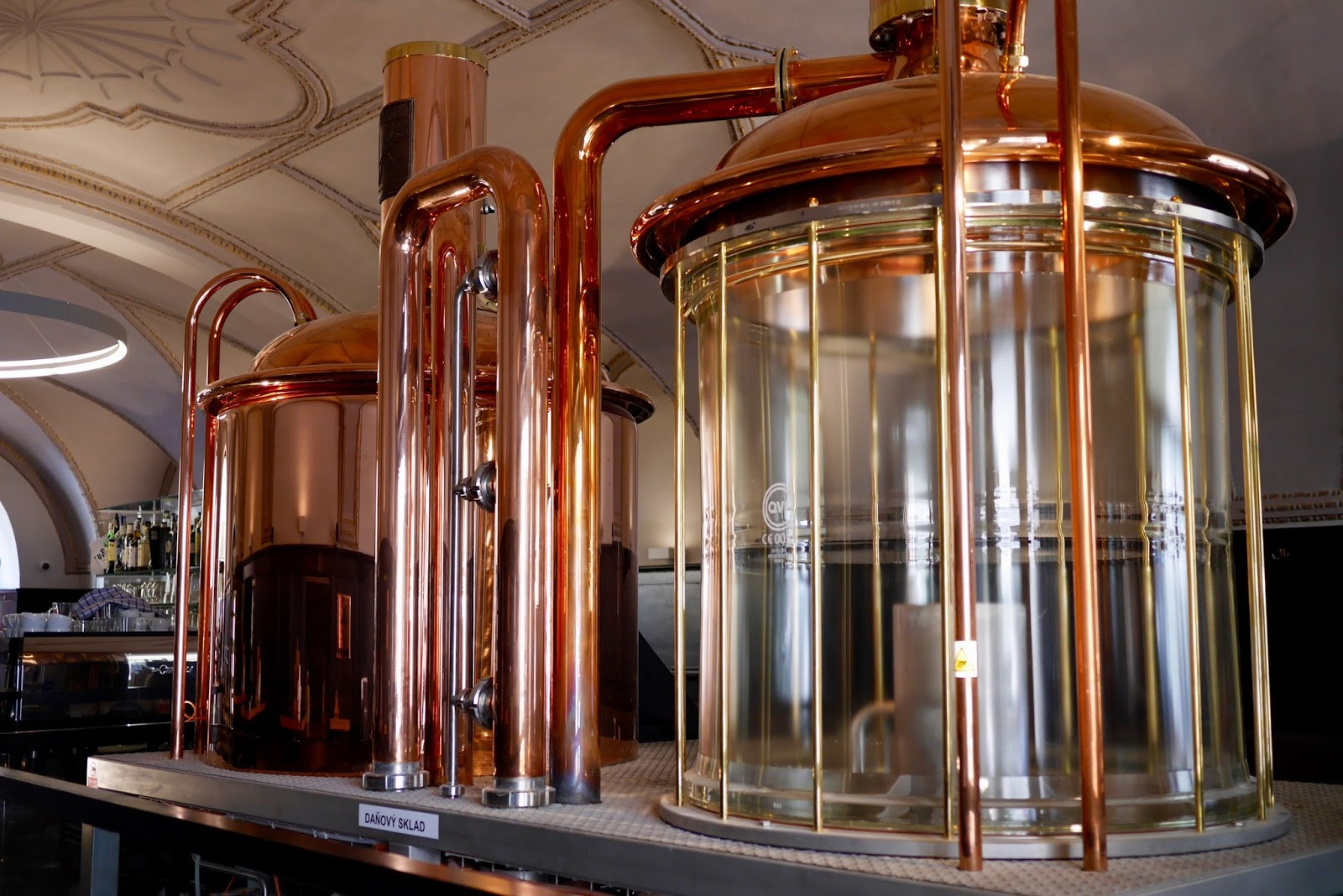 Copper stills of Prague beer during a beer tasting walking tour