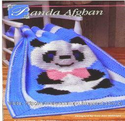 cobija con diseño de oso panda para tejer en jacqard