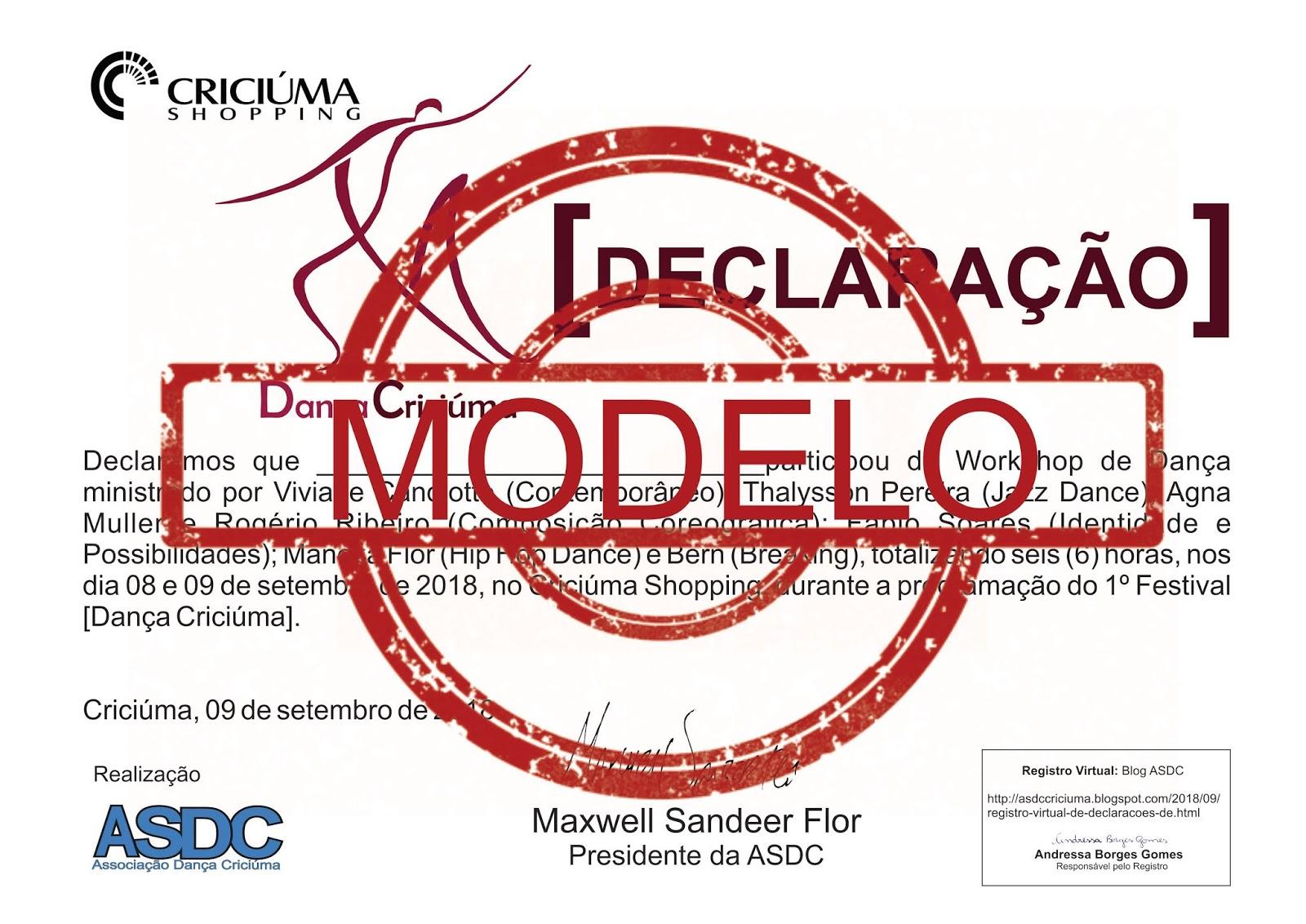Asdc Associação Dança Criciúma Registro Virtual De