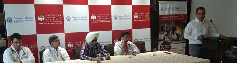 Dr Amit Dhawan, Facility Director, American Oncology Institute, Ludhiana with other Doctors talking to media persons in Ludhiana